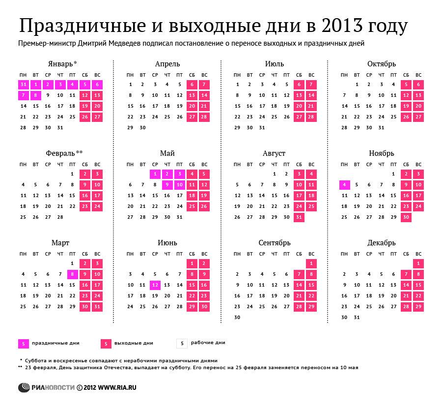 Календарь выходных и праздников на 2013